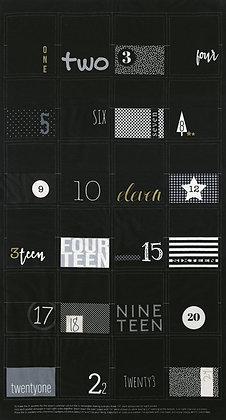 White Christmas Panel BLACK by Zen Chic/Moda