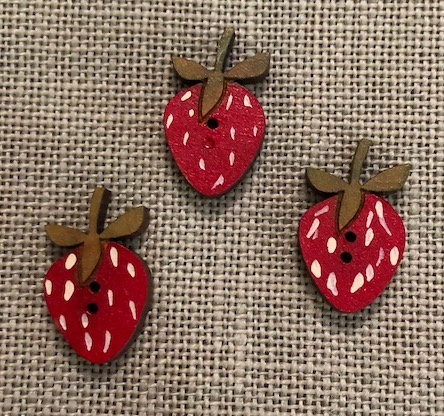 *Set of 3 Strawberry Buttons by Theodora Cleave