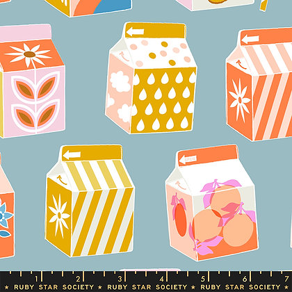 Clementine Soft Blue Milk Cartons w/ Blue Background Fabric by Ruby Star