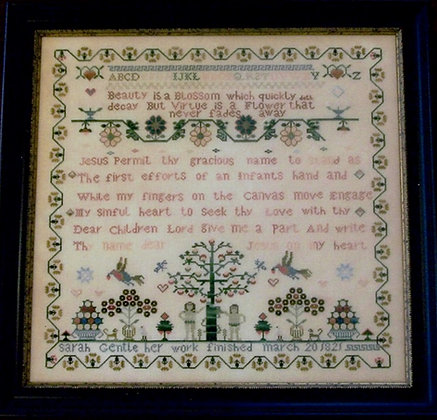 Sarah Gentle 1821 by Samplers Remembered