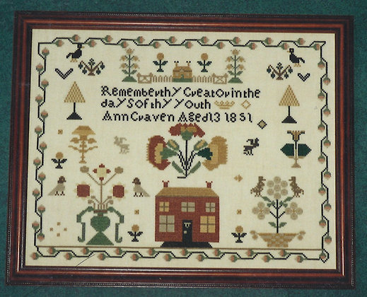 Ann Craven 1851 Sampler by Historic Stitches