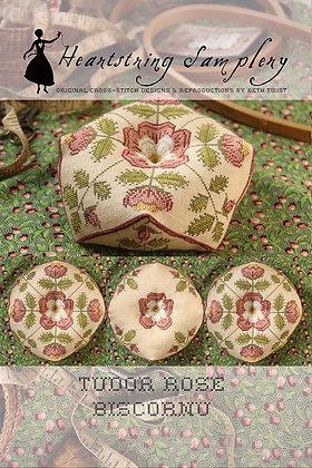 Tudor Rose Biscornu by Heartstring Samplery