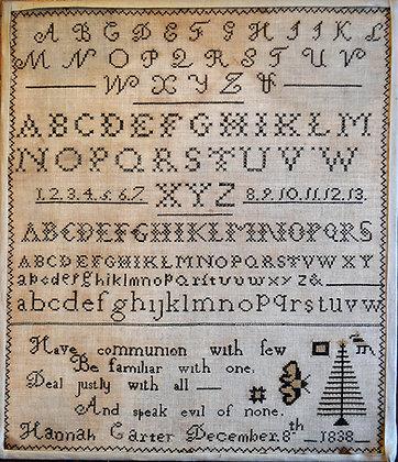 Hannah Carter Reproduction Sampler by Shakespeare's Peddler