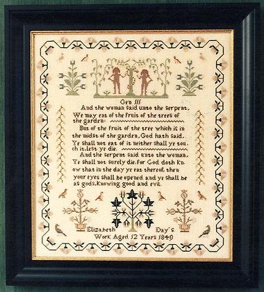 Elizabeth Day 1840 by The Samplar Workes