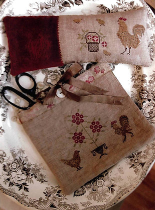 Spotted Chickens Sewing Bag & Pinkeep by Stacy Nash Primitives