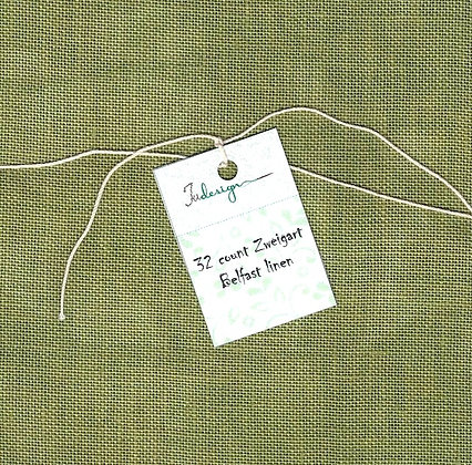 32 Count Oil Green Fat Quarter Hand-Dyed Linen by xJudesign
