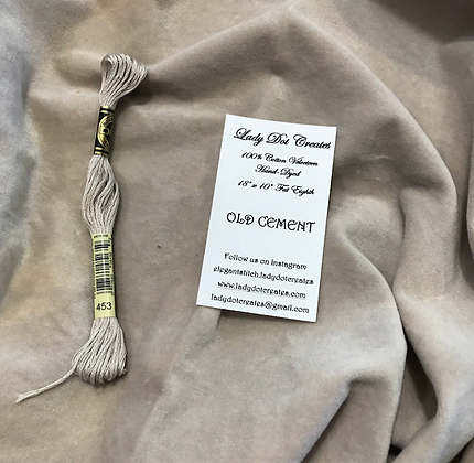 *Old Cement 100% Cotton Velveteen Hand-Dyed by Lady Dot Creates