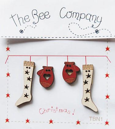 Christmas Stocking and Mittens button pack by The Bee Company TBN1