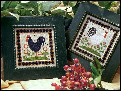 Two Roosters cross stitch chart by Little House Needleworks
