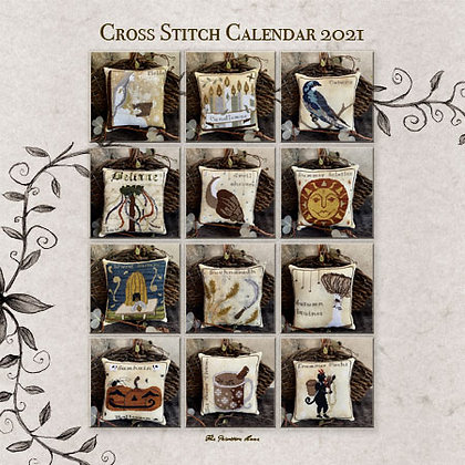 Primitive Hare Cross Stitch Calendar 2021