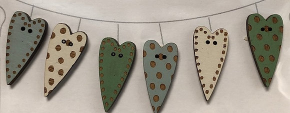 Teal Heart Buttons Set by The Bee Company TB3C