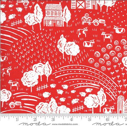 On the Farm (FARMLAND) RED Fabric by Stacy Iest Hsu of Moda