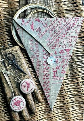Luise Konig Redwork Sewing Pocket & Fob by Stacy Nash Primitives