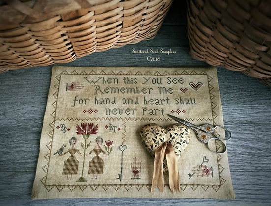 Hand & Heart Stitcher's Mat by Scattered Seed Samplers