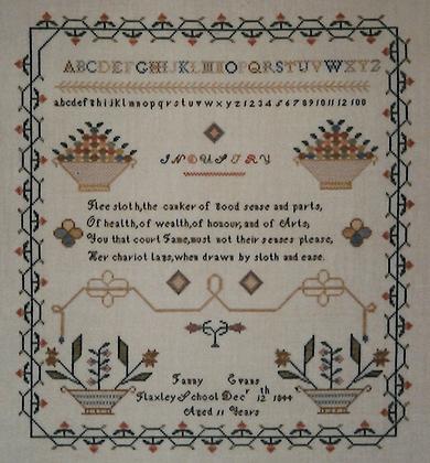 CATS Fanny Evans Sampler 1844 by T&N Designs, Inc.