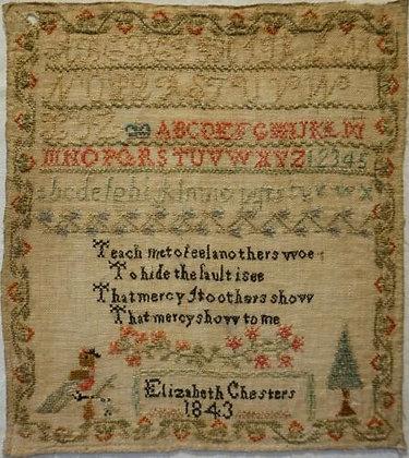 Elizabeth Chesters 1843 Antique Sampler by Cross Stitch Antiques