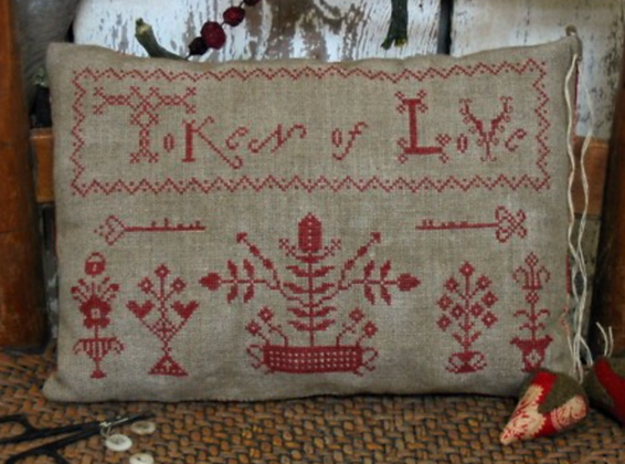 Token of Love Redwork Pillow by Pineberry Lane