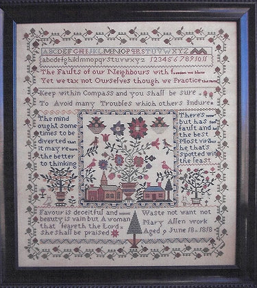 Village Square Sampler Mary Allen 1818 by Samplers Remembered