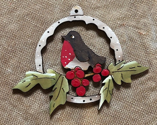 *Robin on Holly & Berries in Frame Button by Theodora Cleave