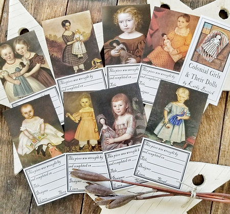 Colonial Girls and Their Dolls Needlework Labels by Kathy Barrick
