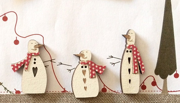 3 Snowman Button Set TBN22 by The Bee Company