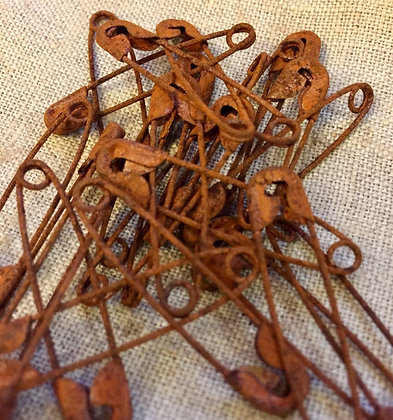 """1 1/2"""" Rusty Safety Pins for Finishing (25)"""