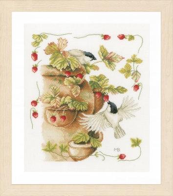 Strawberries & Birds KIT with Evenweave/Threads by Marjolein Bastin/Lanarte