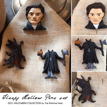 Sleepy Hollow Pins Set by The Primitive Hare