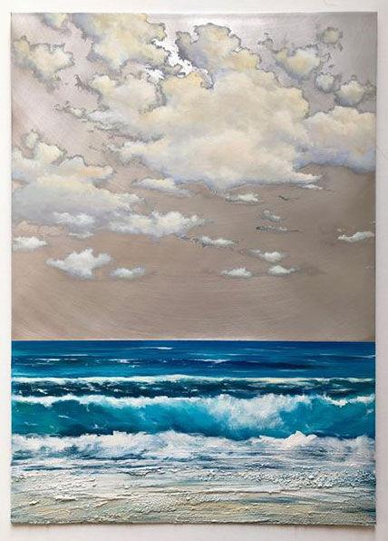 "seascape by Stiliana Alexieva ""Summer Spirit"" oil and mixed media on aluminium panel 50 x 70 cm close look"