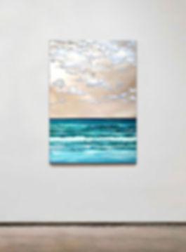 "seascape by Stiliana Alexieva ""Distant Memories"" oil and mixed media on aluminium panel 50 x 70 cm"