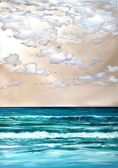 "seascape by Stiliana Alexieva ""Distant Memories"" oil and mixed media on aluminium panel 50 x 70 cm close look"
