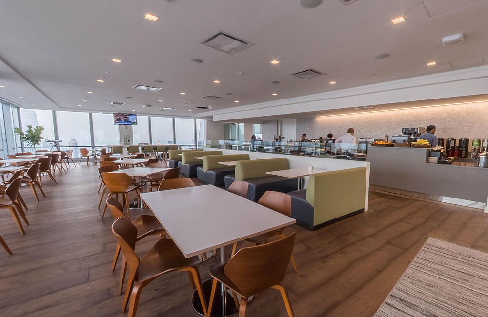 At SAP, the view on the 49th floor is spectacular, which is why elite|studio e placed the coffee bar facing the windows. Not only do the sight lines remain unobstructed, but the concept gets the natural light it deserves.