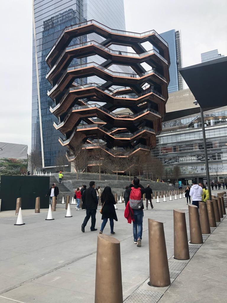 Located at the heart of Hudson Yards, the Vessel is made of 154 staircases and 80 platforms zigzagging together to form a web of more than 2,500 individual stairs.