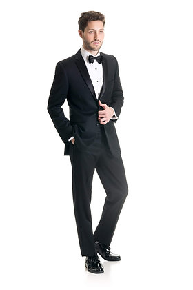 Black Slim Tuxedo Coat- Super 120's