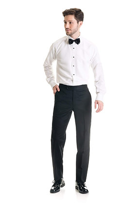 Black Slim Fit Tuxedo Pants - Super 120's