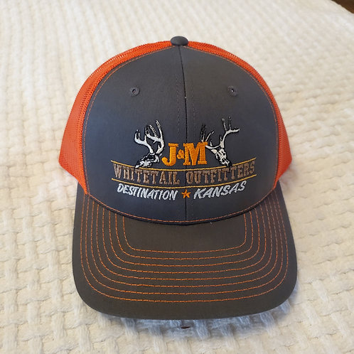 Mesh Snapback Trucker Hat - Grey/Orange