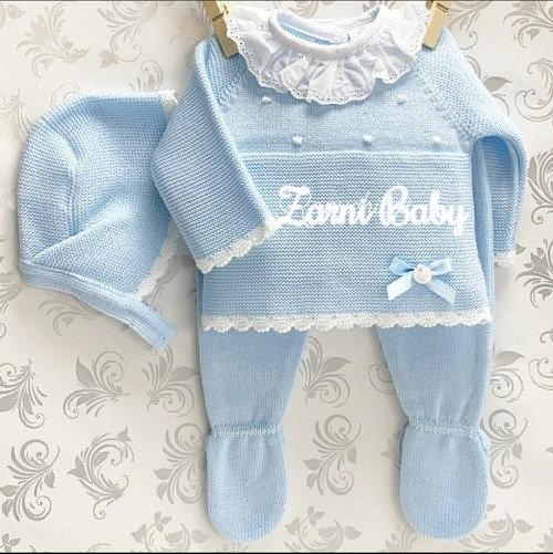 3 pc Spanish Knitted Pram Set - blue