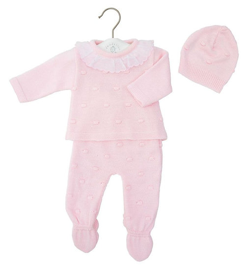 Dandelion 3 pc Knitted Frill Collar Bobble Knitted Set
