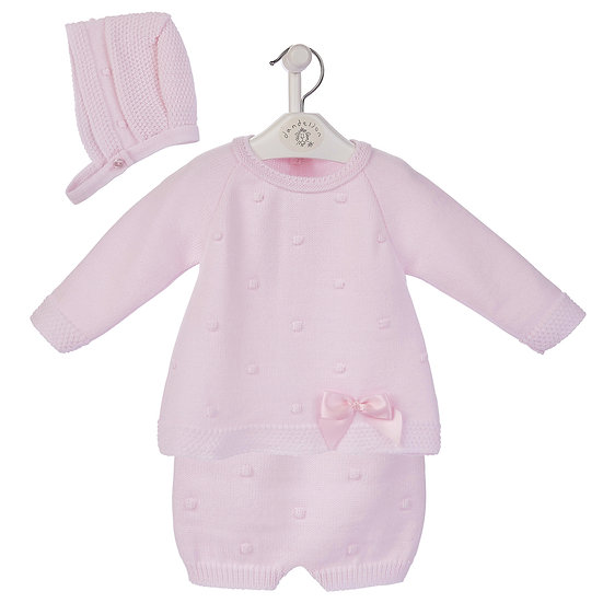 Dandelion Pretty 3pc Knitted Set -Pink or Blue