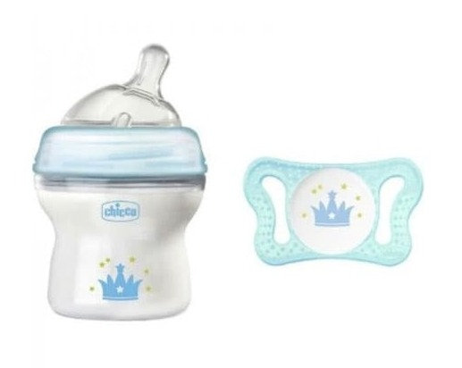 Chicco 5 oz Feeding Bottle & Silicone Soother Set