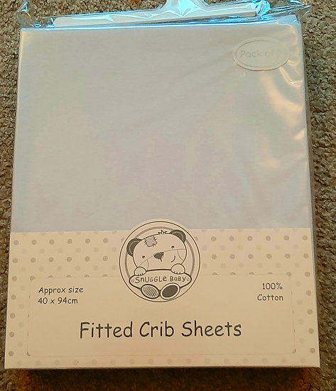 Fitted Pram/Crib Sheets Twin Pack  (40 x 94cms)