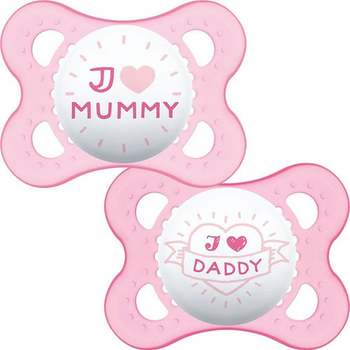 MAM Pink Silicone Soothers 0+ I love Mummy / Daddy