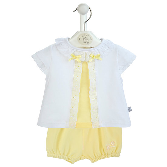 Baby Girls Pique Pants & Lace edge Top (AV6088)