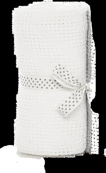 Cotton Cellular Pram Blankets - White