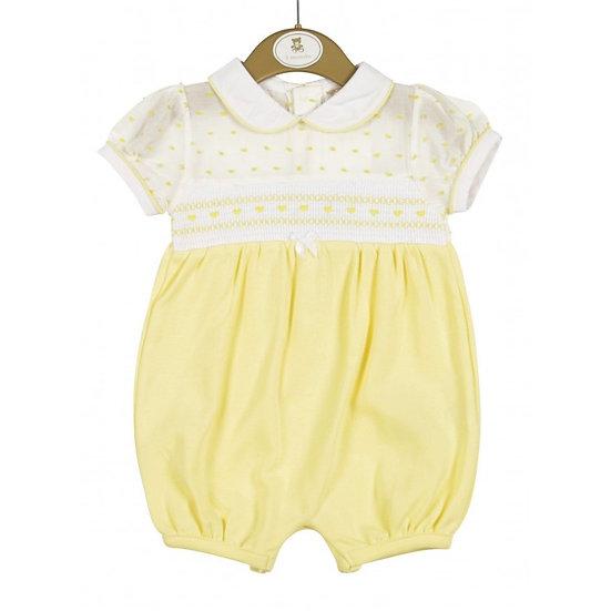 Mintini Baby Lemon Smocked Romper