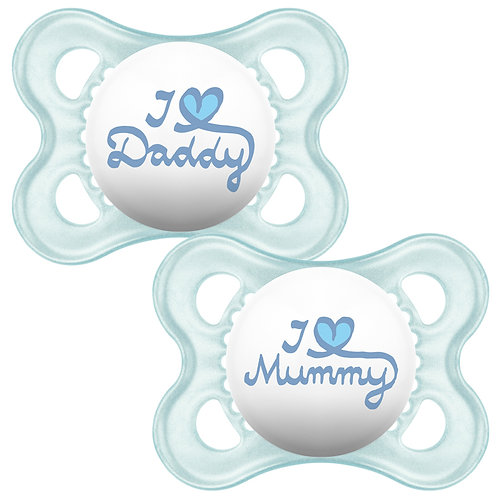 MAM Blue Silicone Soothers 0+ I love Mummy/Daddy
