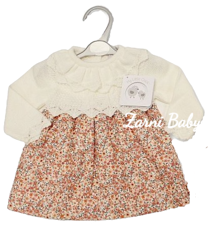 My Little Chick Knitted/Woven Baby Girls Dress - Floral