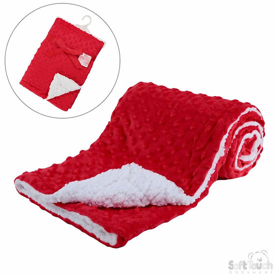 Soft Touch Minky Dot Red Blanket with Sherpa back