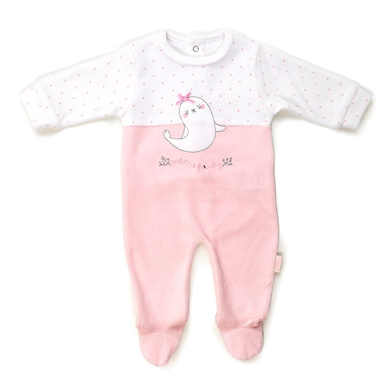 Babybol Girls Velour Sleeper -Seals