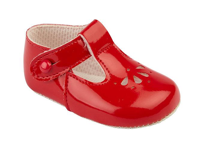Baypod Girls Red Patent Pram Shoes